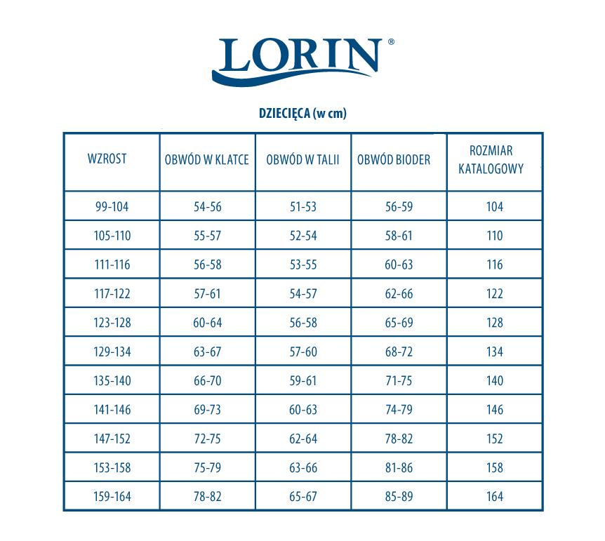 Tabela rozmiarów strojów dziecięcych Lorin