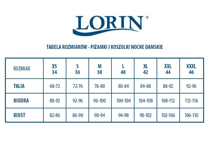 tabela rozmiarów piżamki damskie Lorin