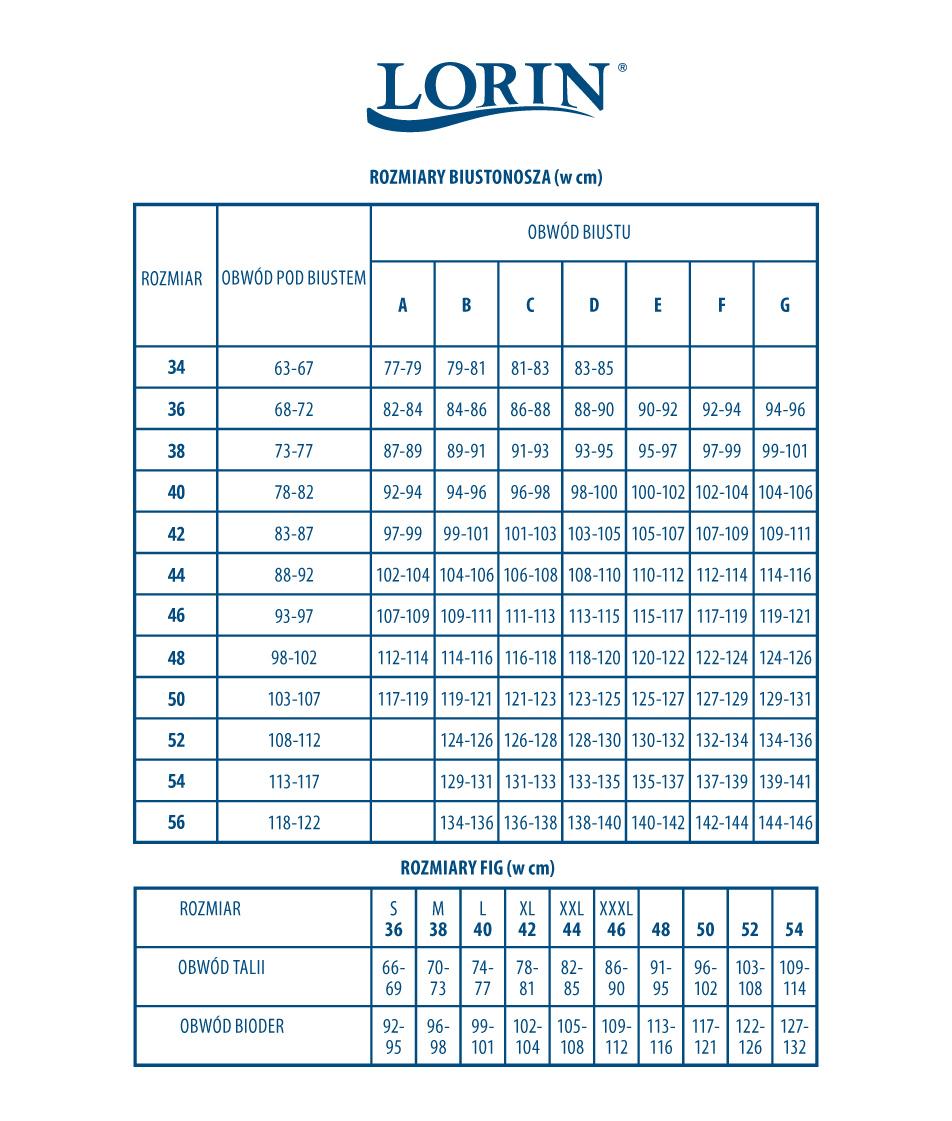 Tabela rozmiarów strojów kąpielowych Lorin