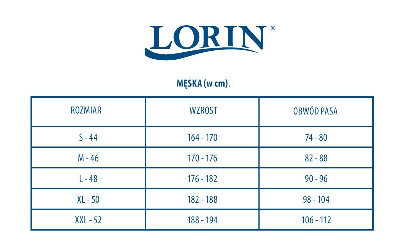 Tabela rozmiarów Kąpielówki męskie, bokserki, bermudy Lorin